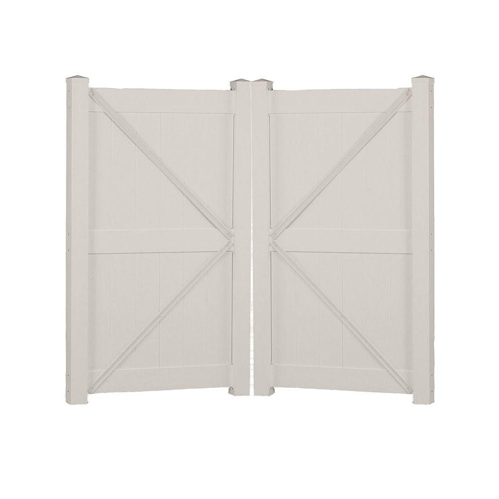 Augusta 7.4 ft. W x 6 ft. H Tan Vinyl Privacy Double Fence Gate