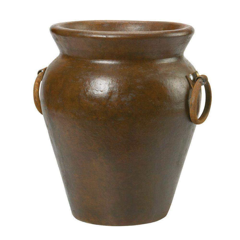 Pennington 14 in. x 16 in. Clay Belize Urn in Tobacco-100016696