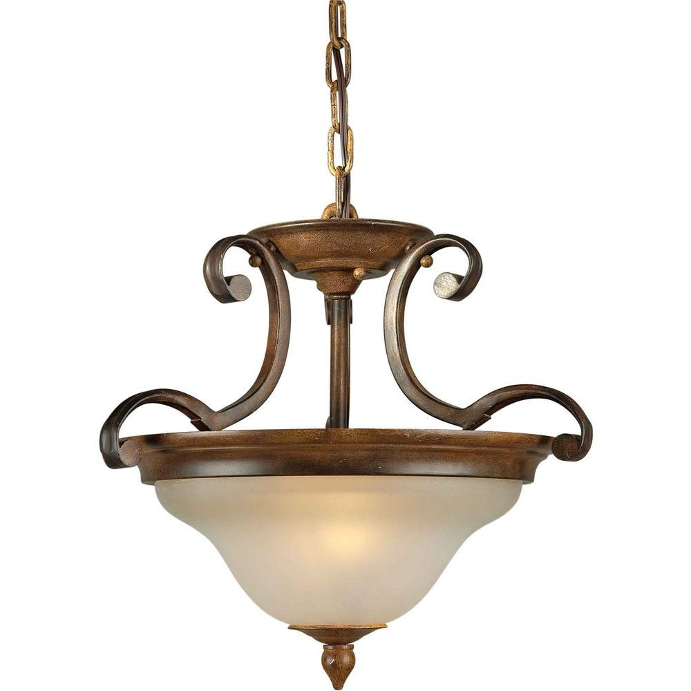 Illumine 2-Light Semi Flush Mount Rustic Sienna Finish Shaded Umber Glass-DISCONTINUED