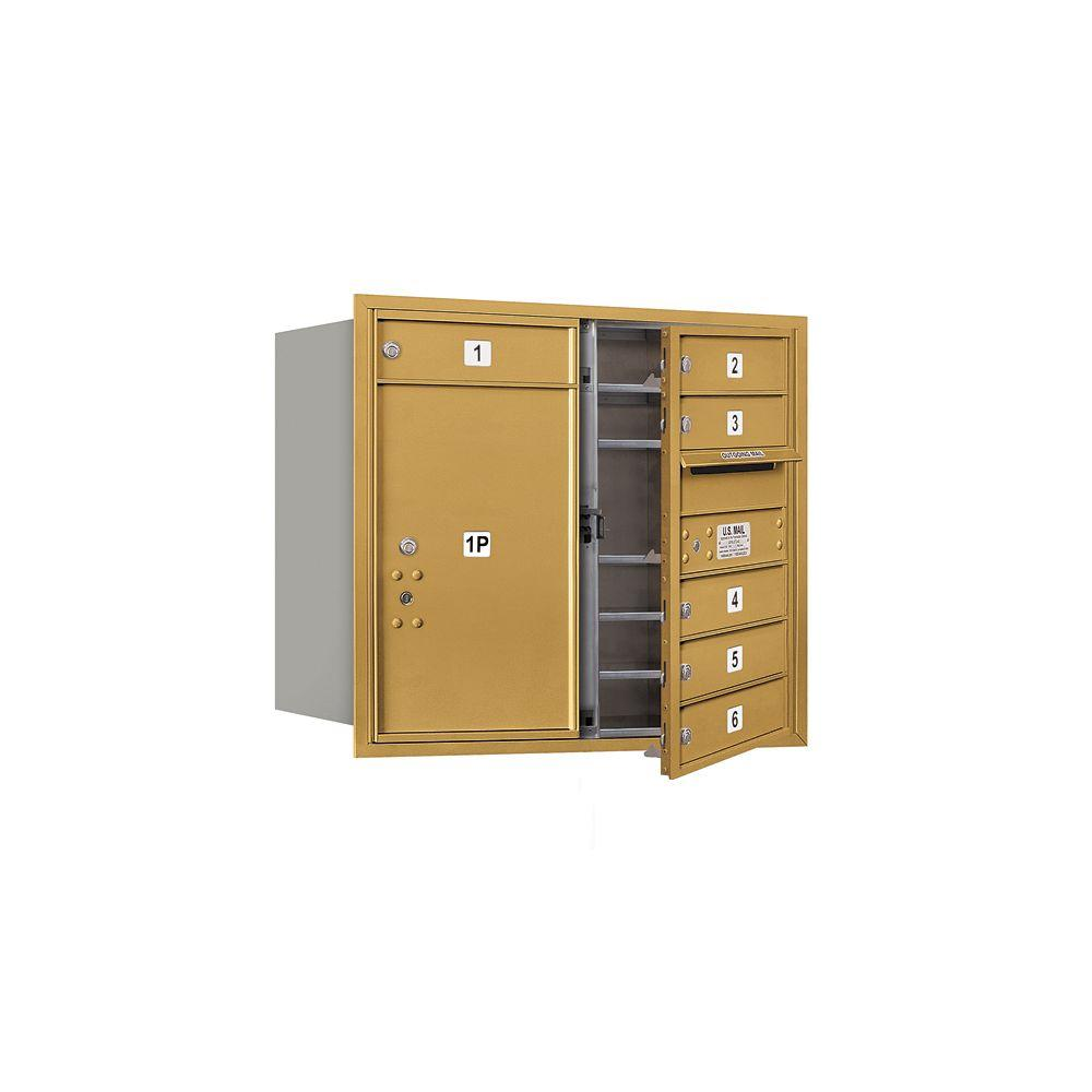 Salsbury Industries 3700 Series 27 in. 7 Door High Unit Gold USPS Front Loading 4C Horizontal Mailbox with 6 MB1 Doors/1 PL6