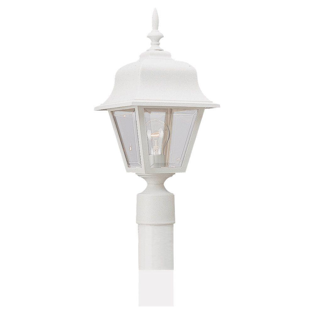 Sea Gull Lighting 1-Light White Painted Polycarbonate Post Lantern-8255-15 - The