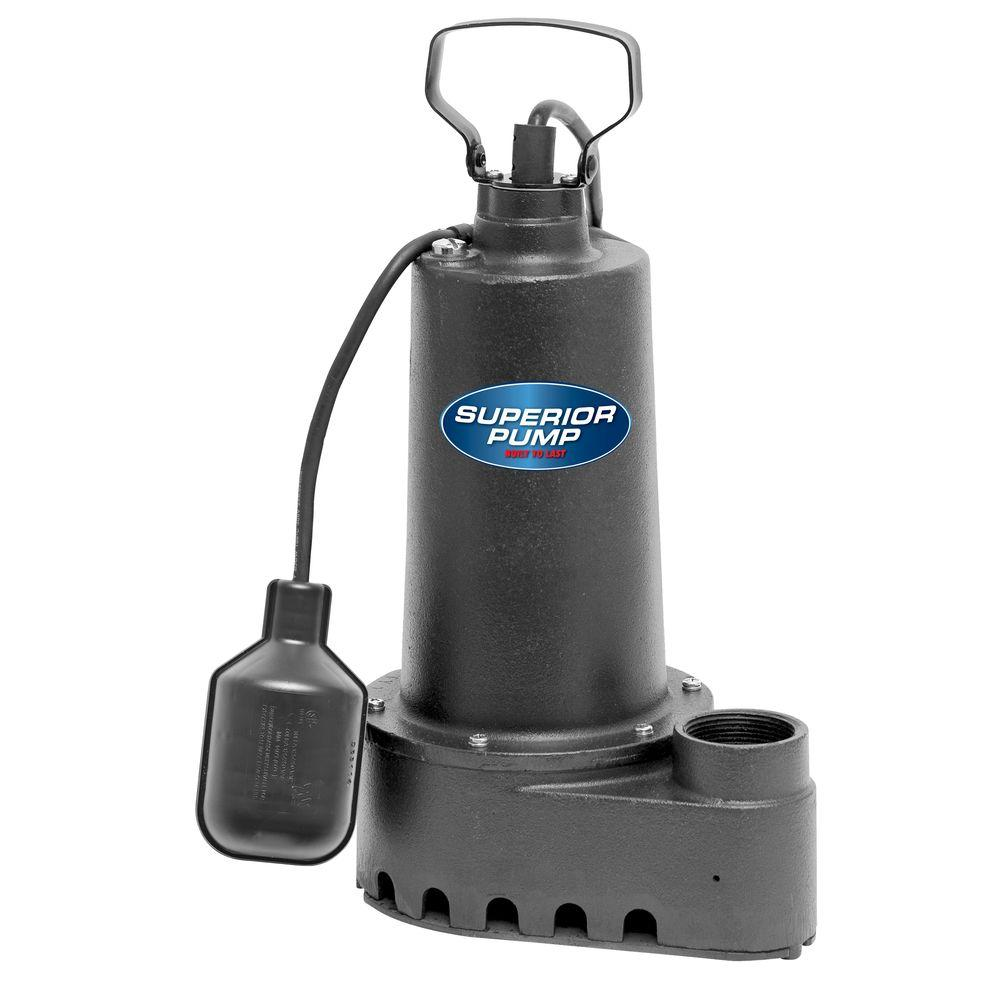 Superior Pump 1/2 HP Submersible Cast Iron Sump Pump-92501 - The