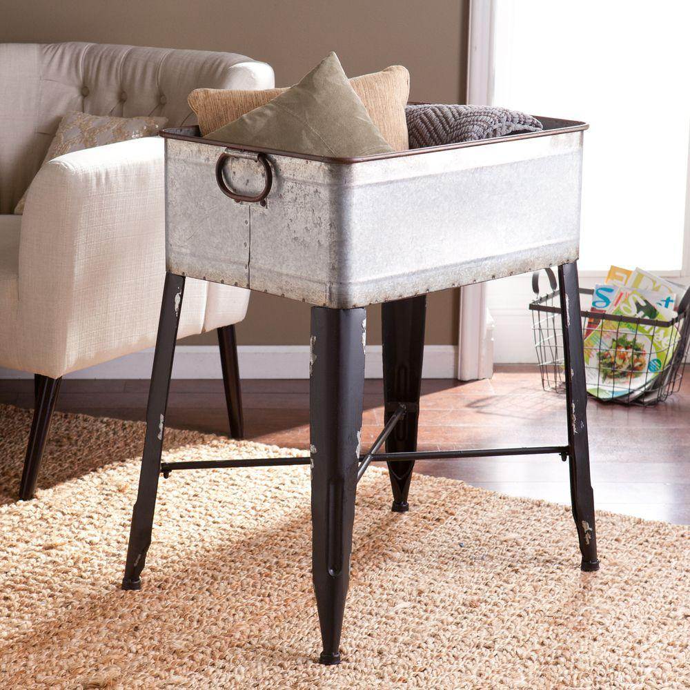 Southern Enterprises Breckyn Galvanized Finish Accent Table-HD889351 - The Home