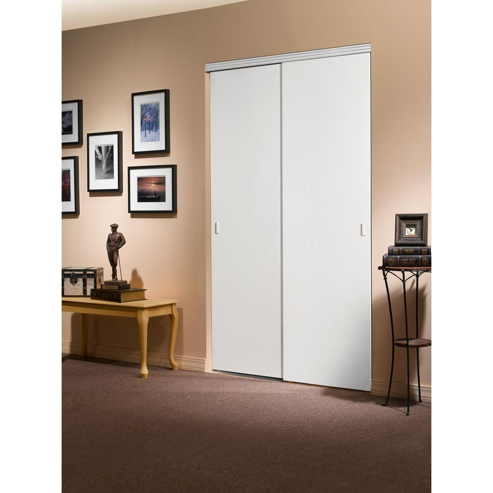 smooth flush solid core primed mdf interior closet sliding door with chrome the home depot