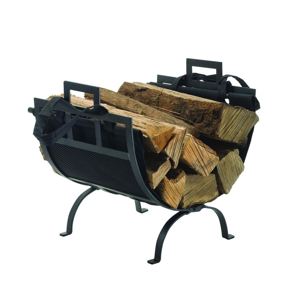 22 in. Decorative Firewood Rack with Removable Canvas Tote