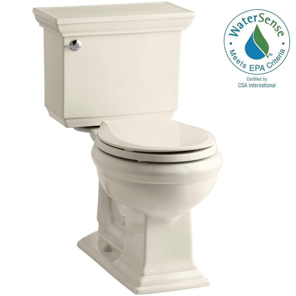 Memoirs Stately 2-piece 1.28 GPF Round Toilet with AquaPiston Flushing Technology in Almond