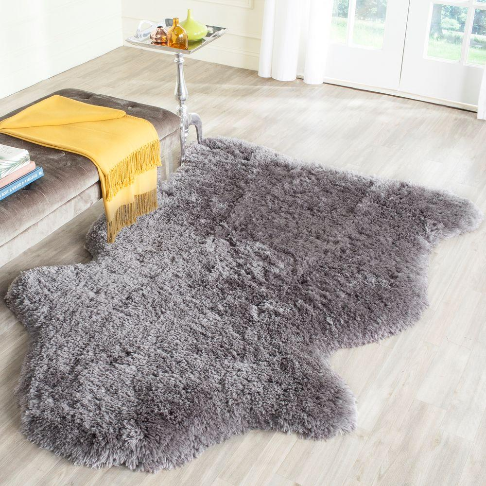 Arctic Shag Gray 4 ft. x 6 ft. Scalloped Area Rug