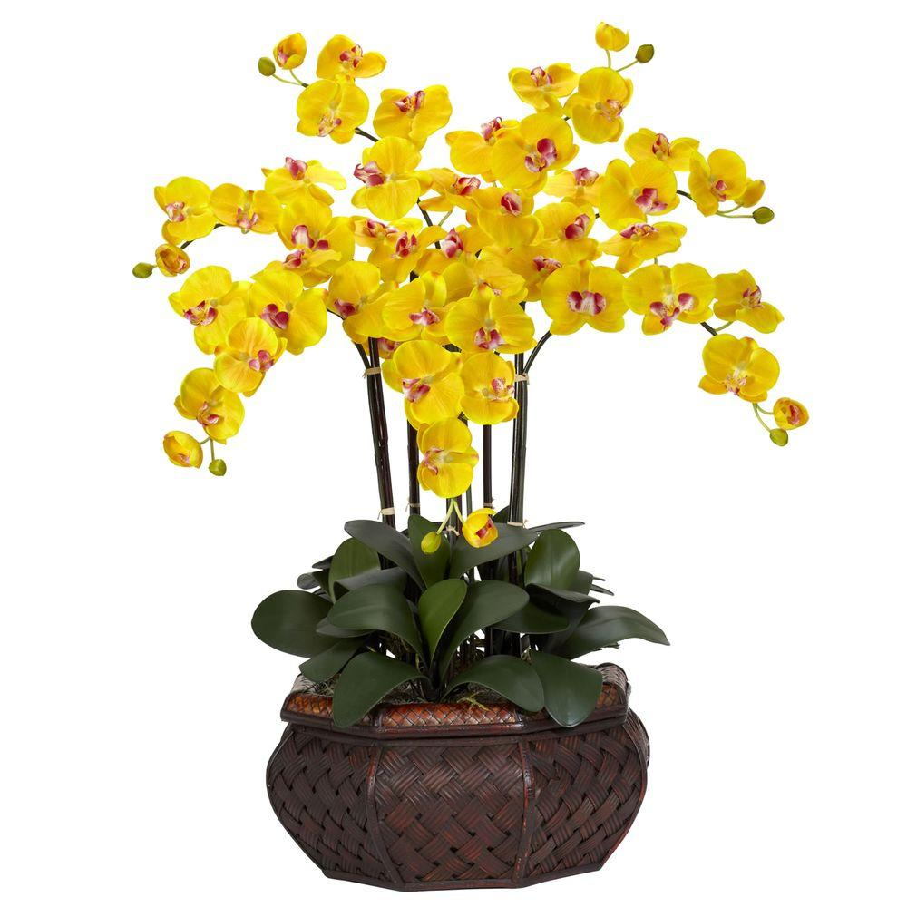 30 in. H Yellow Large Phalaenopsis Silk Flower Arrangement-1201-YL - The