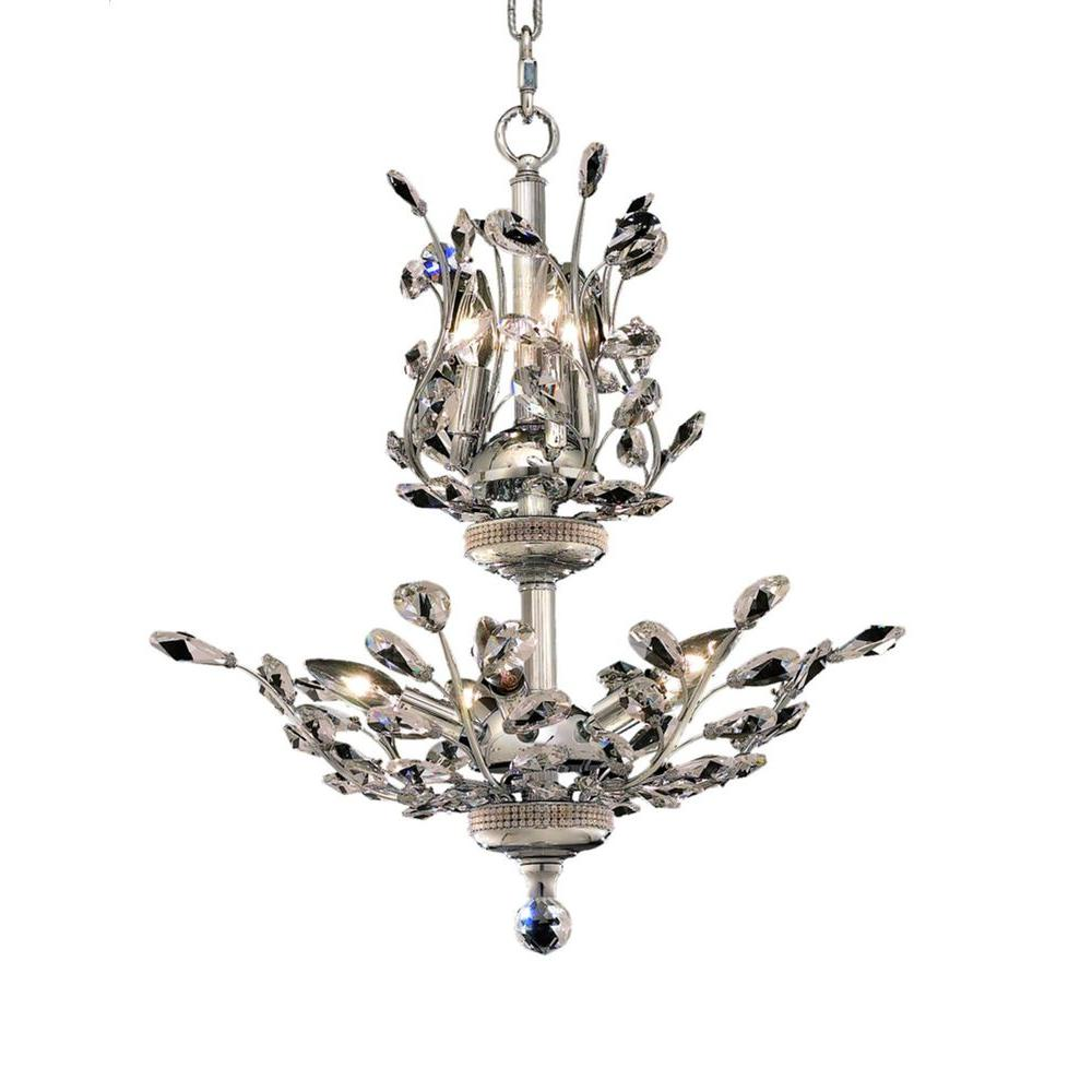 Elegant Lighting 8-Light Chrome Chandelier with Clear Crystal-EL2011D21C/RC -