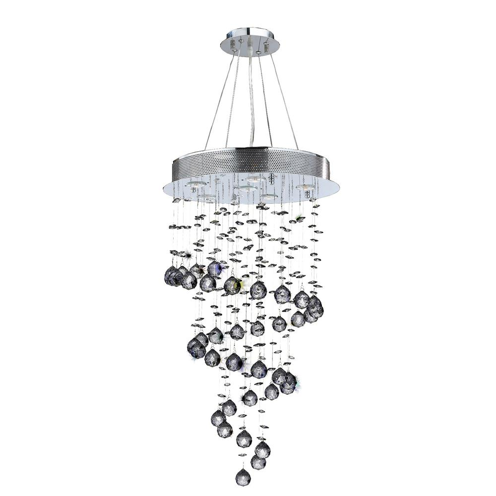 Worldwide Lighting Helix 6-Light Chrome Clear Crystal Chandelier-W83247C18 - The