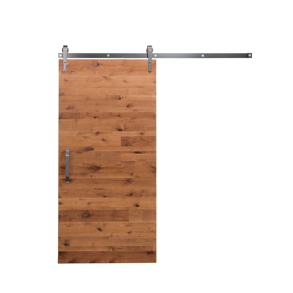 Rustica hardware 36 in x 84 in rustica reclaimed clear wood barn door with arrow sliding door - Barn door track hardware home depot ...