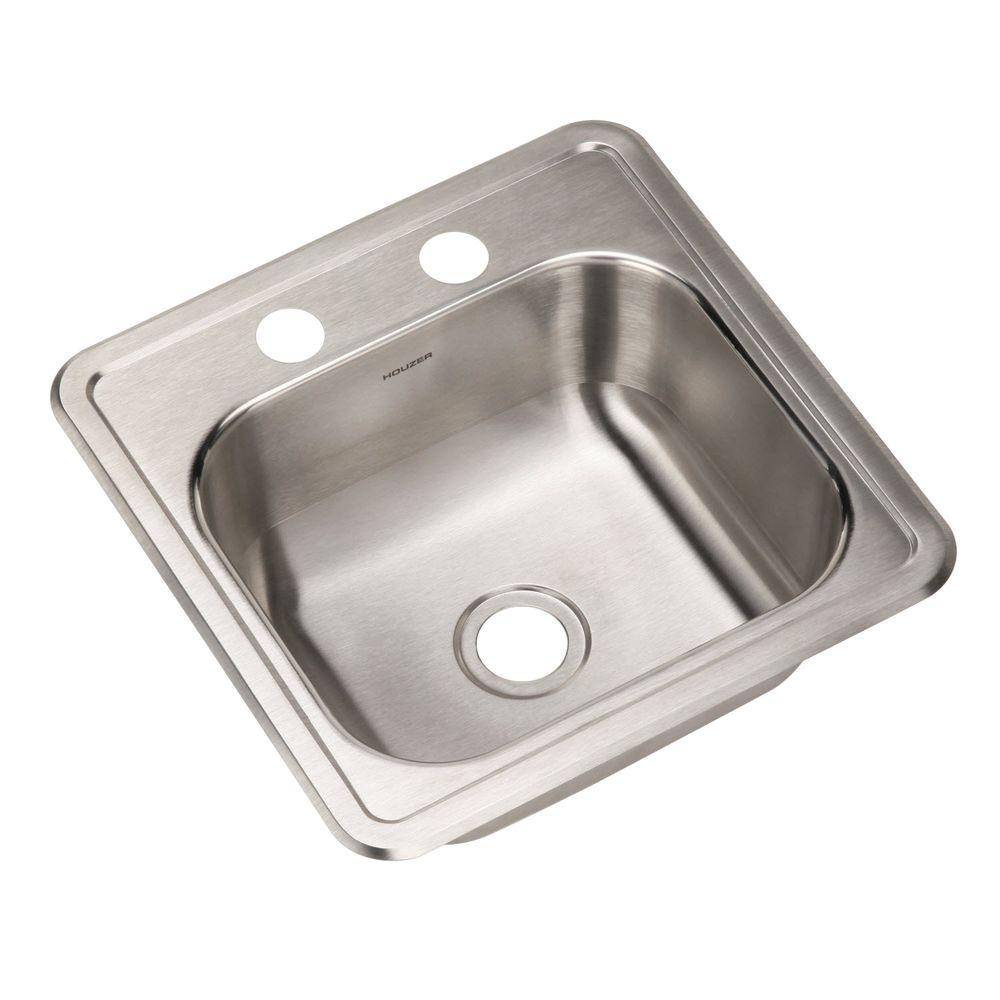 HOUZER Hospitality Series Drop-In Stainless Steel 15 in. 2-Hole Single ...