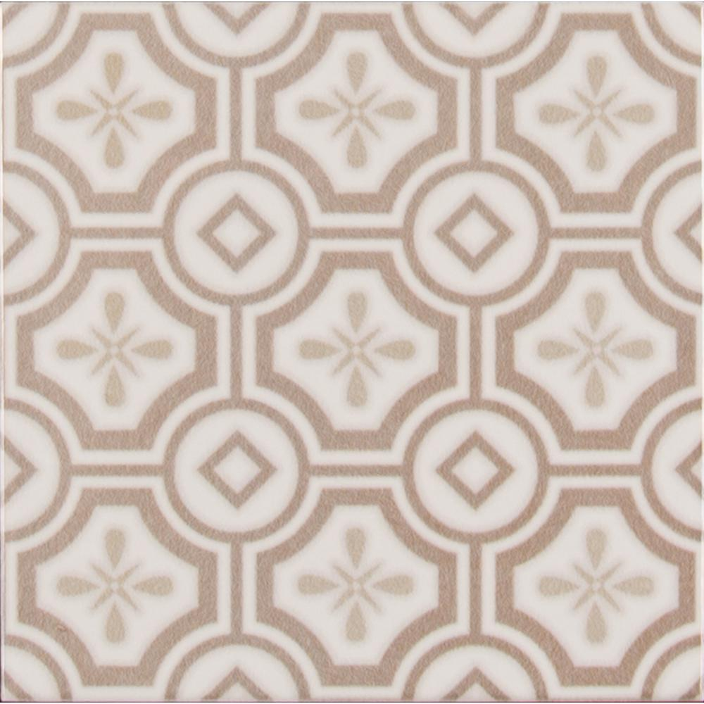 Camilla Pattern 5 in. x 5 in. Glazed Ceramic Wall Tile