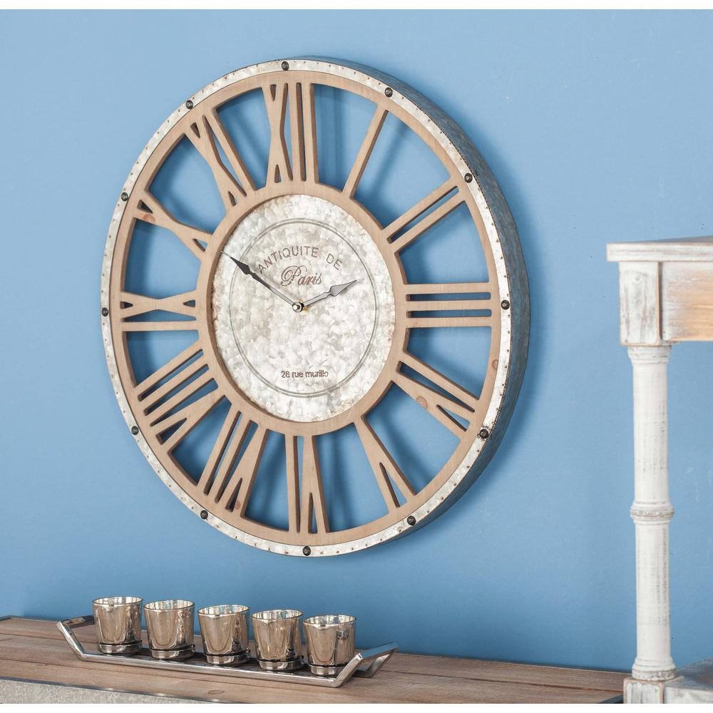 20 in. Rustic Round Wood and Iron Wall Clock