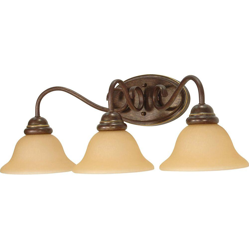 Glomar 3-Light Sonoma Bronze Wall Fixture with Champagne Linen Washed Glass