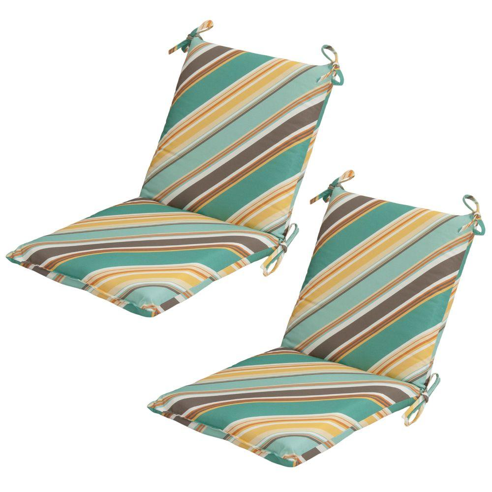 Hampton Bay Redmond Stripe Mid-Back Outdoor Dining Chair Cushion