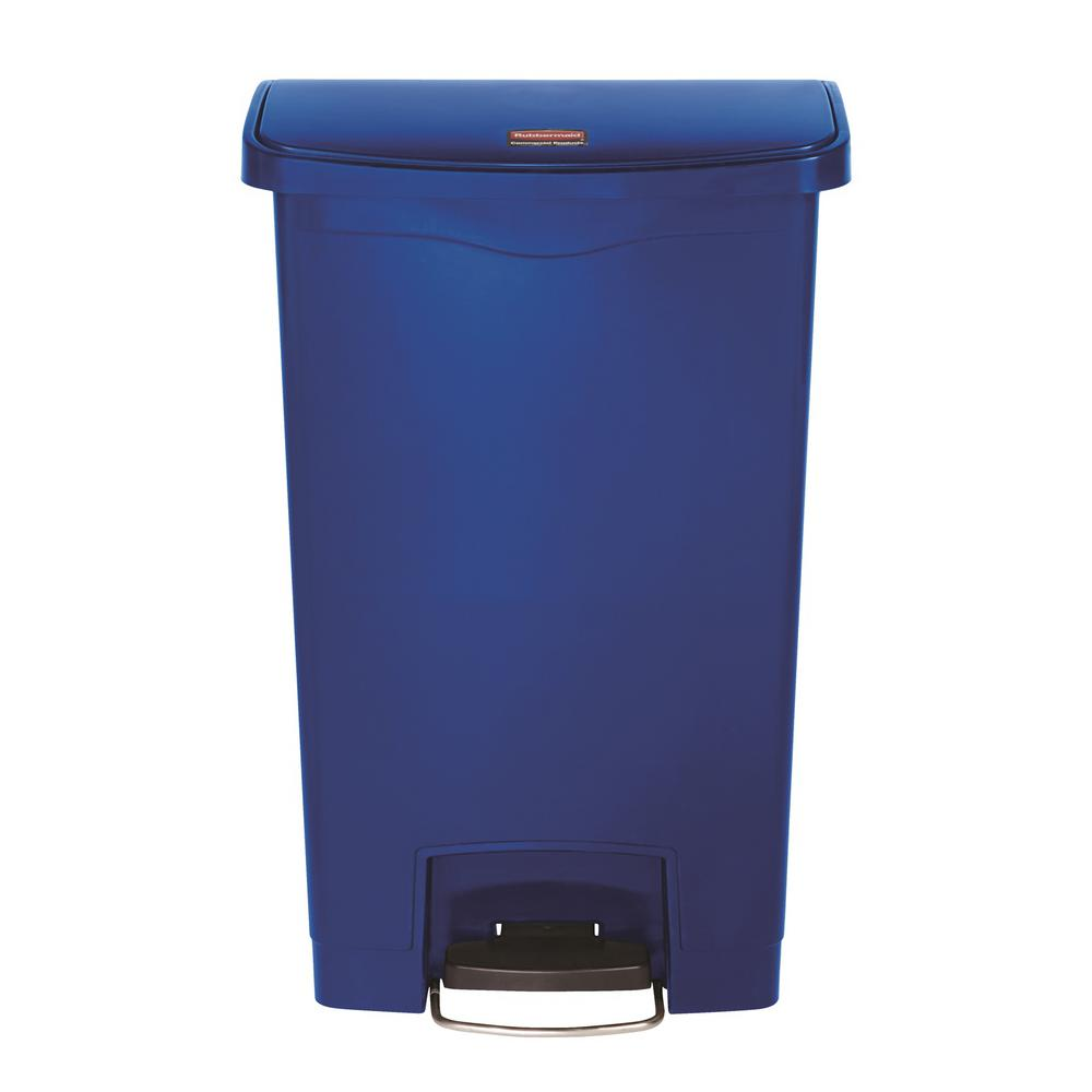 Rubbermaid Commercial Products Slim Jim Step-On 13 Gal. Blue Plastic Front