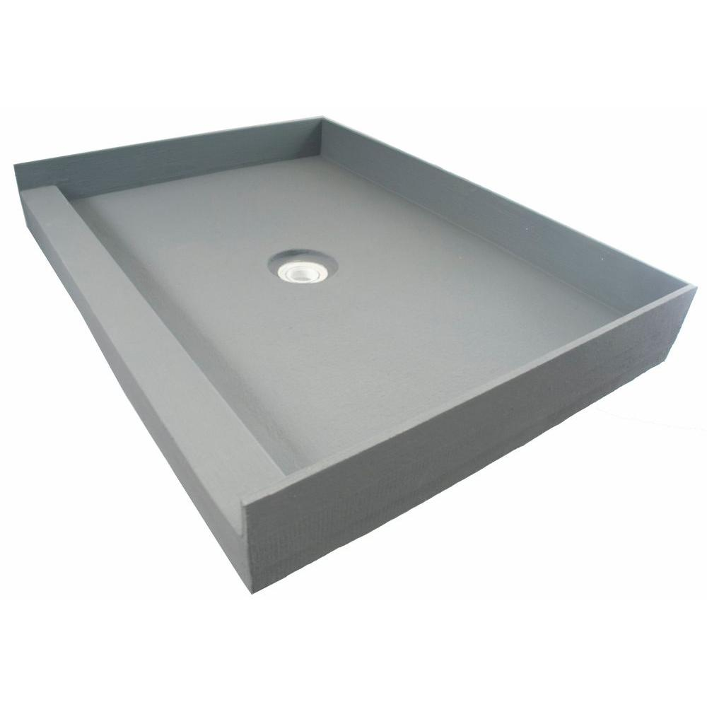 null Fin Pan PreFormed 36 in. x 42 in. Single Threshold Shower Base in Gray with Center Drain