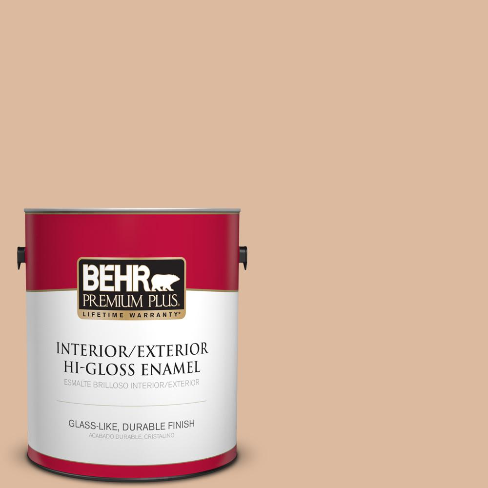 BEHR Premium Plus 1 gal. #PPU3-09 Pumpkin Cream High-Gloss Enamel