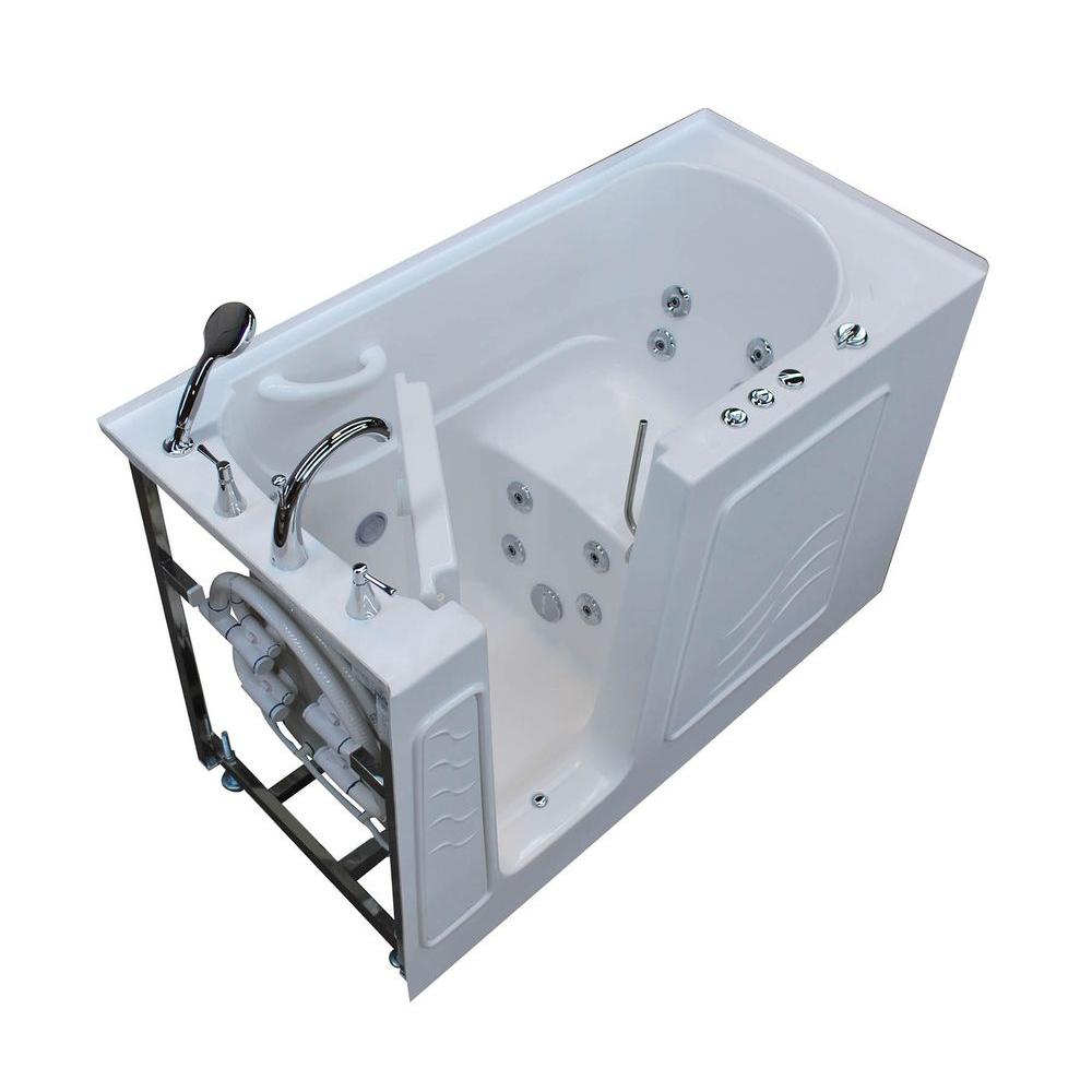 Universal Tubs 5 ft. Left Drain Walk-In Whirlpool Bath Tub in White