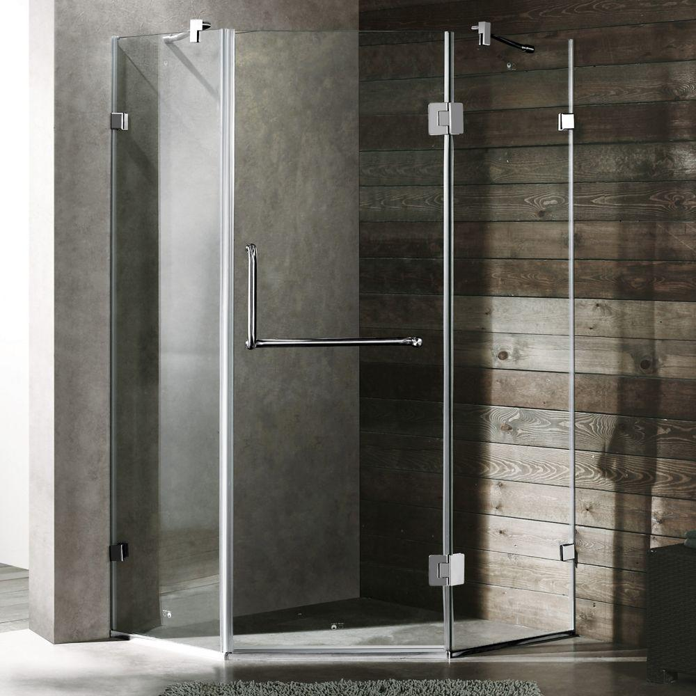 Vigo Piedmont 36.125 in. x 73.375 in. Semi-Framed Neo-Angle Shower Enclosure in Chrome with Clear Glass