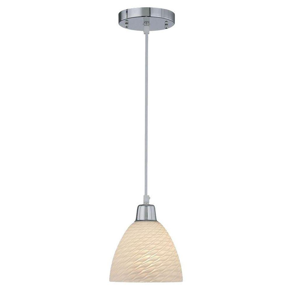 Illumine 1-Light Chrome Lamp Pendant with Scales Glass Shade
