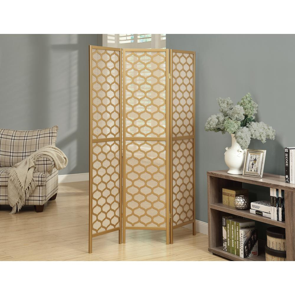 71 in. X 54 in. 3-Panel Gold with Lantern Design Folding