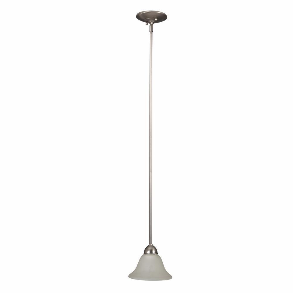 Yosemite Home Decor Vernal Falls Collection 1-Light Satin Nickel Mini Pendant with White Frosted Glass Shade