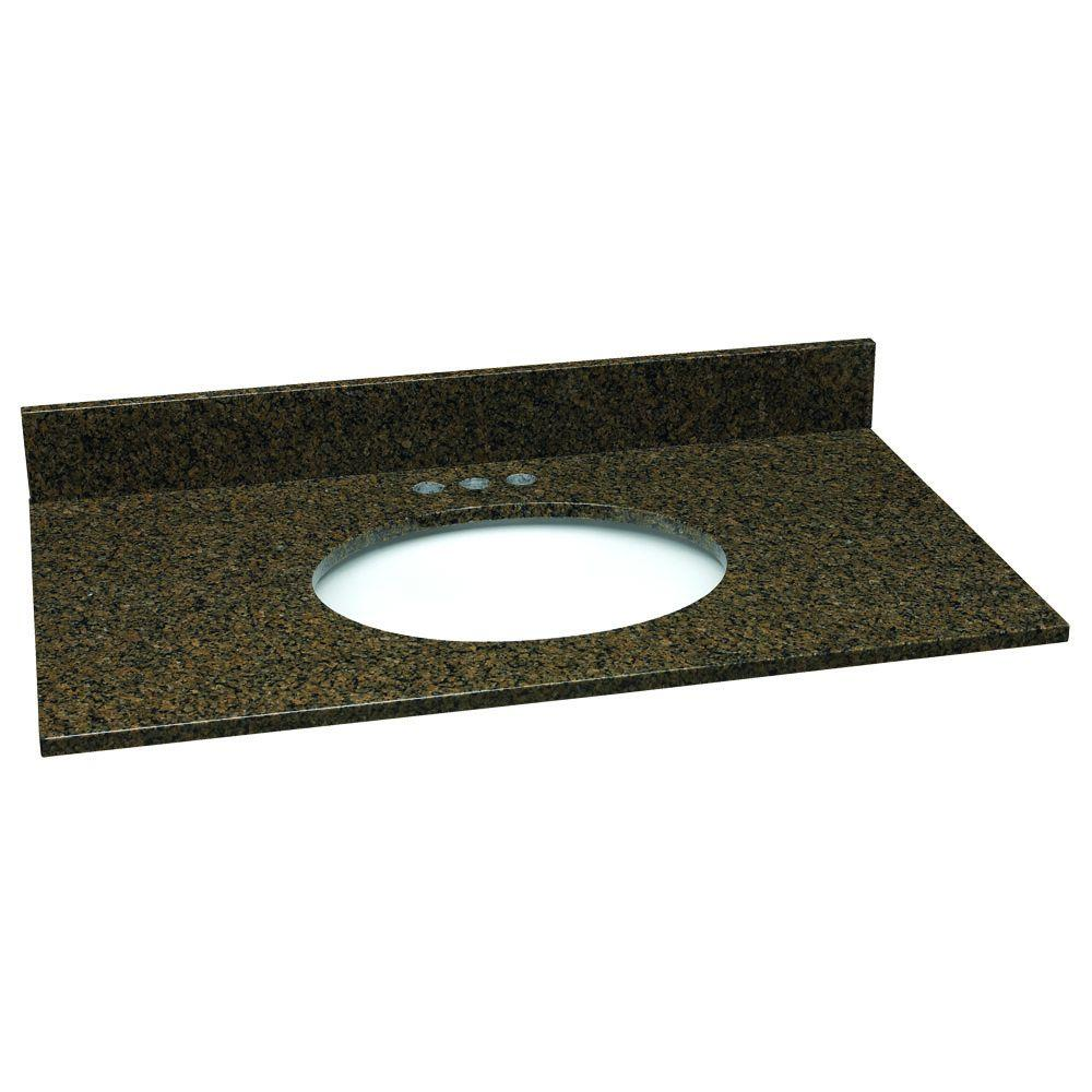 Design House 25 in. W Granite Vanity Top in Tropical Brown with White Bowl and 4 in. Faucet Spread-DISCONTINUED