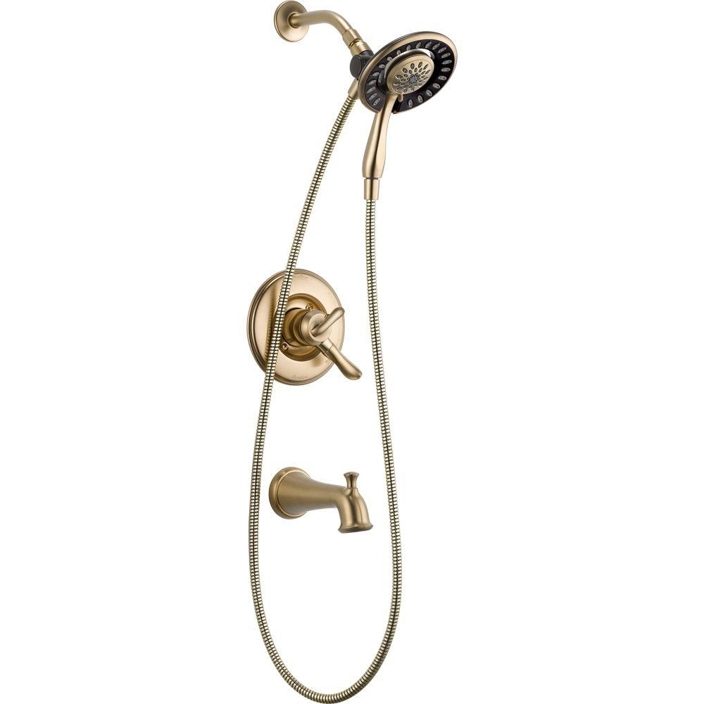 Delta Linden In2ition 1-Handle Tub and Shower Faucet Trim Kit in Champagne Bronze (Valve Not Included)