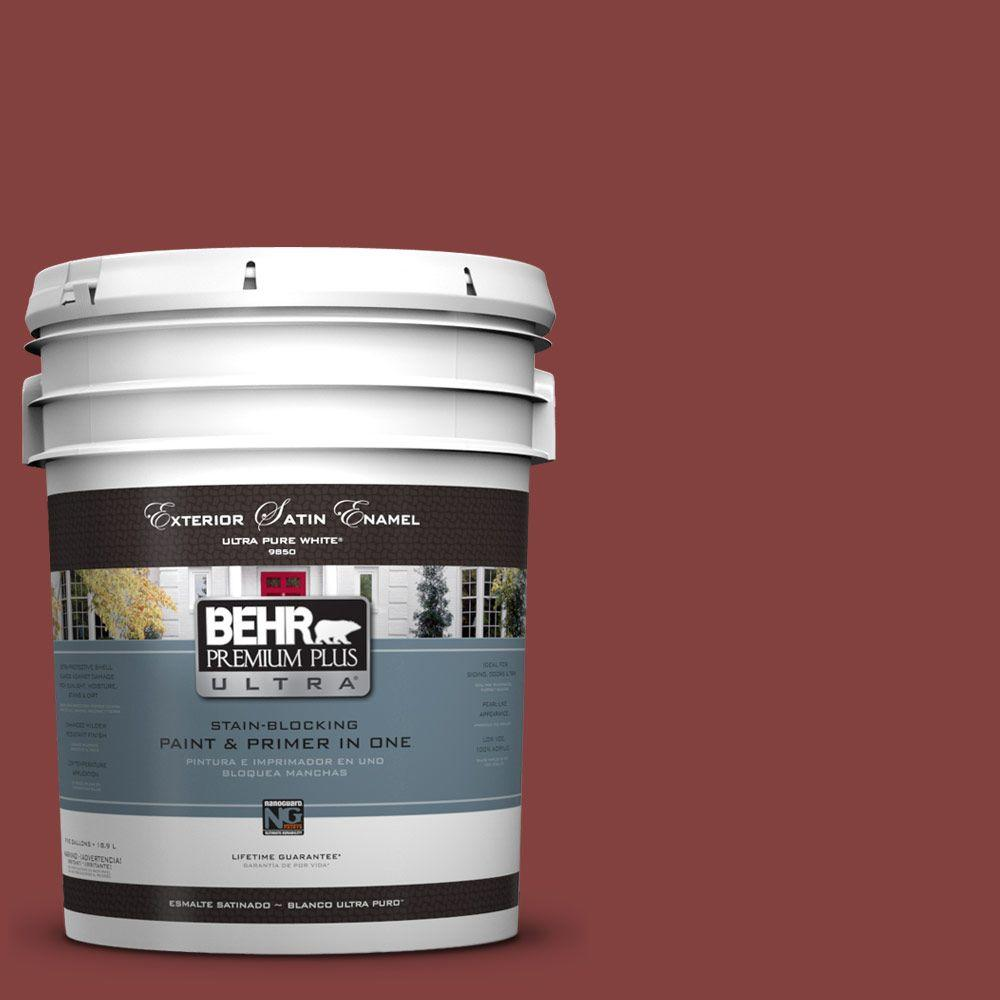 Interior Paint, Exterior Paint & Paint Samples: BEHR Premium Plus Ultra Paint 5-gal. #S-H-170 Red Brick Satin Enamel Exterior Paint 985305