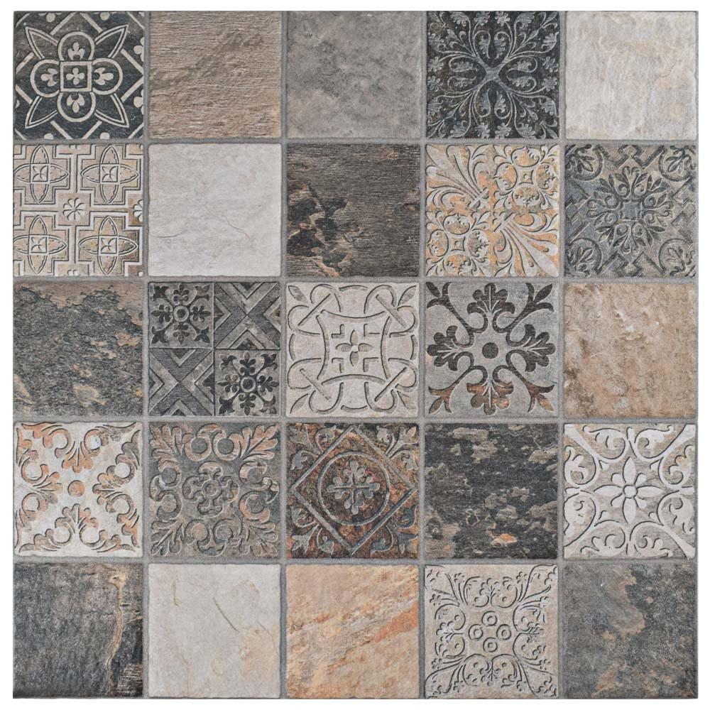 Deco Calzada Ardesia 17-1/2 in. x 17-1/2 in. Porcelain Floor and