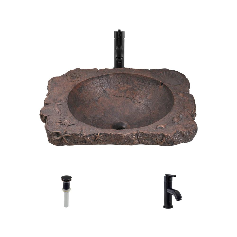 Top-Mount Bathroom Sink in Bronze with 753 Faucet and Pop-Up Drain