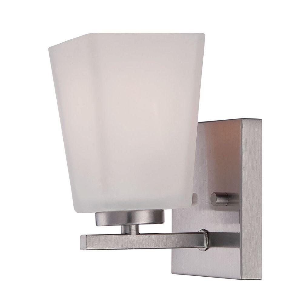 Brushed Nickel Wall Sconce with Etched White Glass