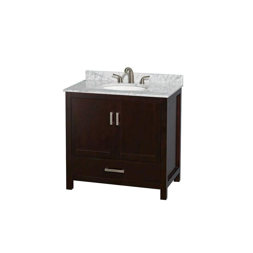 Wyndham Collection Sheffield 36 in. Vanity in Espresso with Marble Vanity Top in Carrara White
