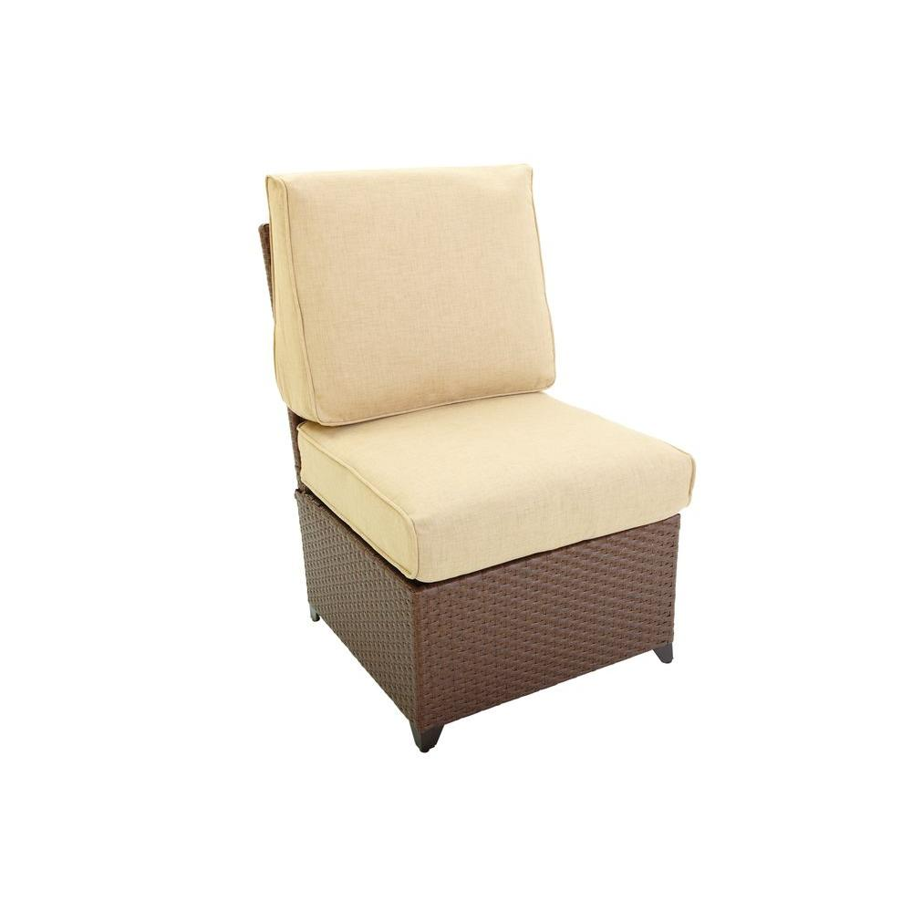 Hampton Bay Hinsdale Dark Brown Patio Lounge Chair with Beige Cushion-DISCONTINUED