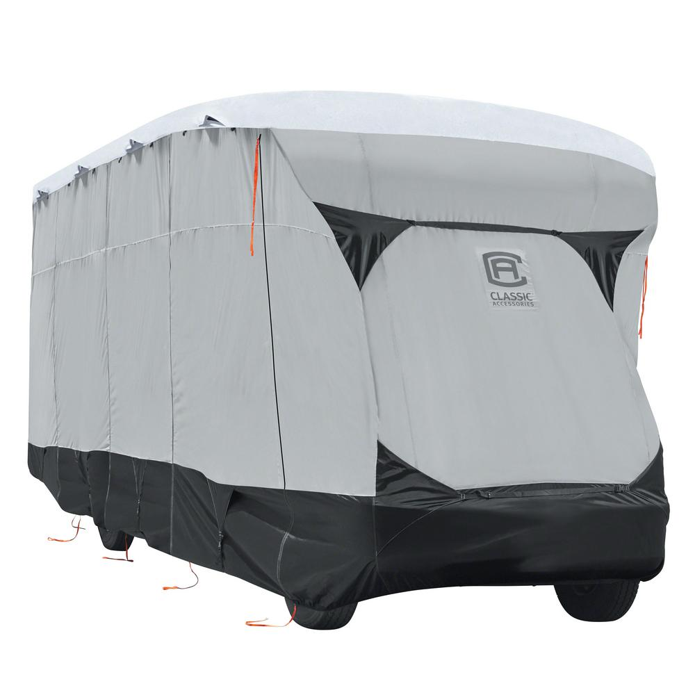 Skyshield 436 in. L x 105 in. W x 111 in. H Class C RV Cover, Black/Grey And Snow White