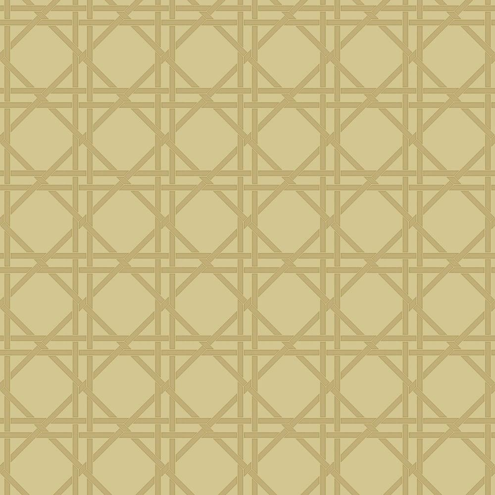 The Wallpaper Company 56 sq. ft. Garden Lattice Yellow/Green Wallpaper-DISCONTINUED