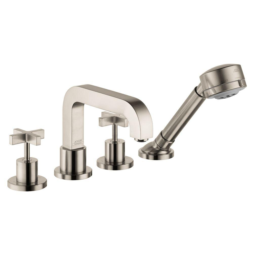 Hansgrohe Citterio Cross 2-Handle Deck-Mount Roman Tub Faucet Trim Kit with Handshower in Brushed Nickel (Valve Not Included)