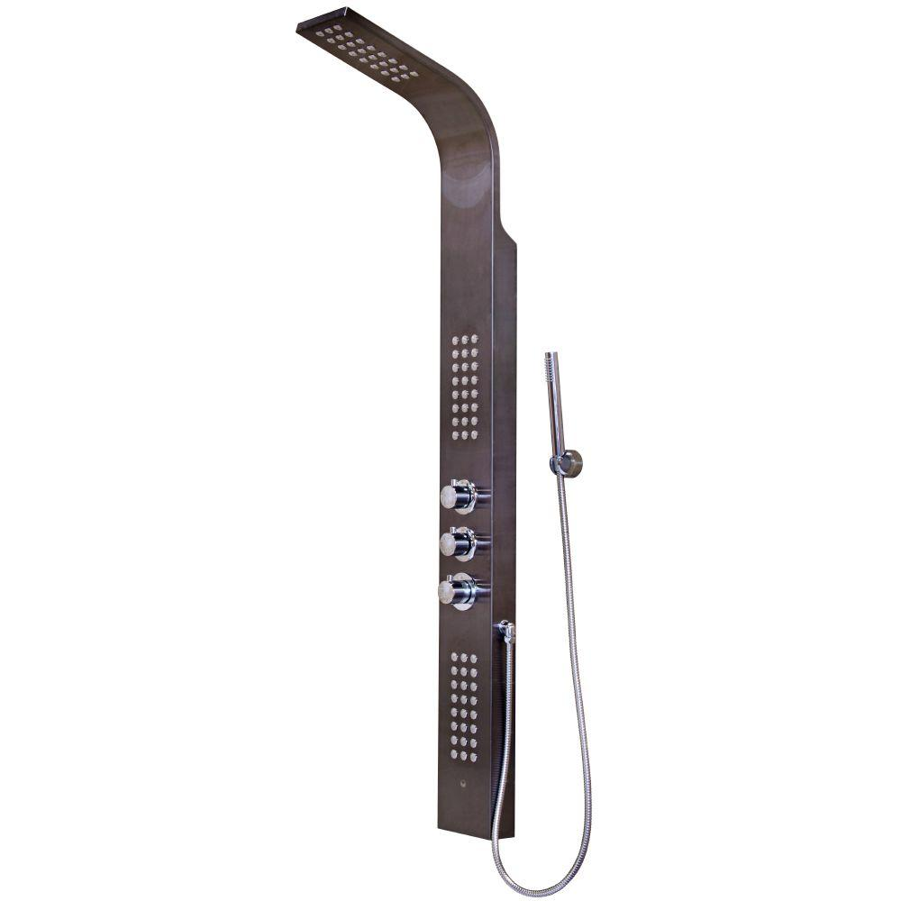 Vigo Rain Head Massage 72-Jet Shower Tower System in Gunmetal-VG08009GM -