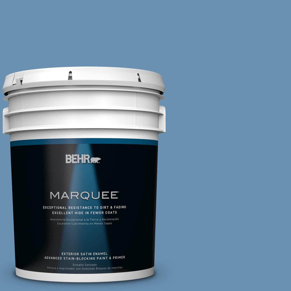 BEHR MARQUEE 5-gal. #M510-4 Brittany Blue Satin Enamel Exterior Paint-945405 -