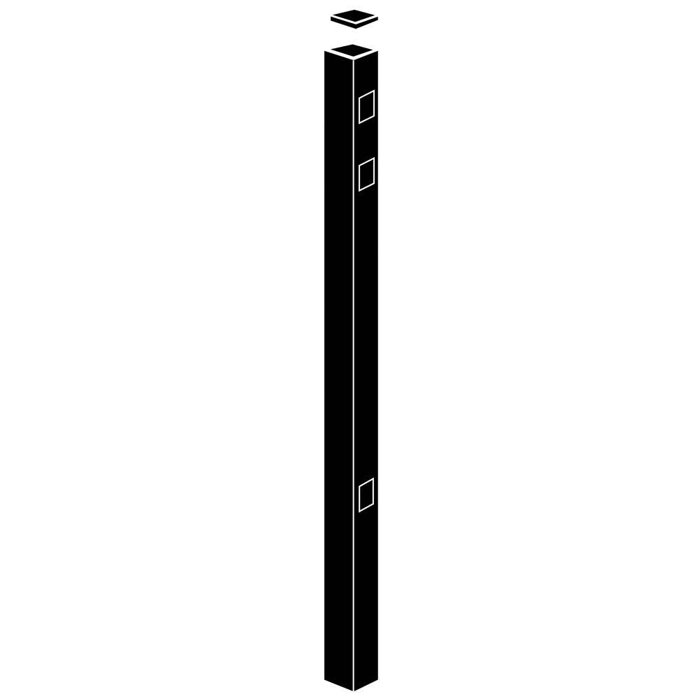 2 in. x 2 in. x 82 in. Black Aluminum End/Gate Fence Post