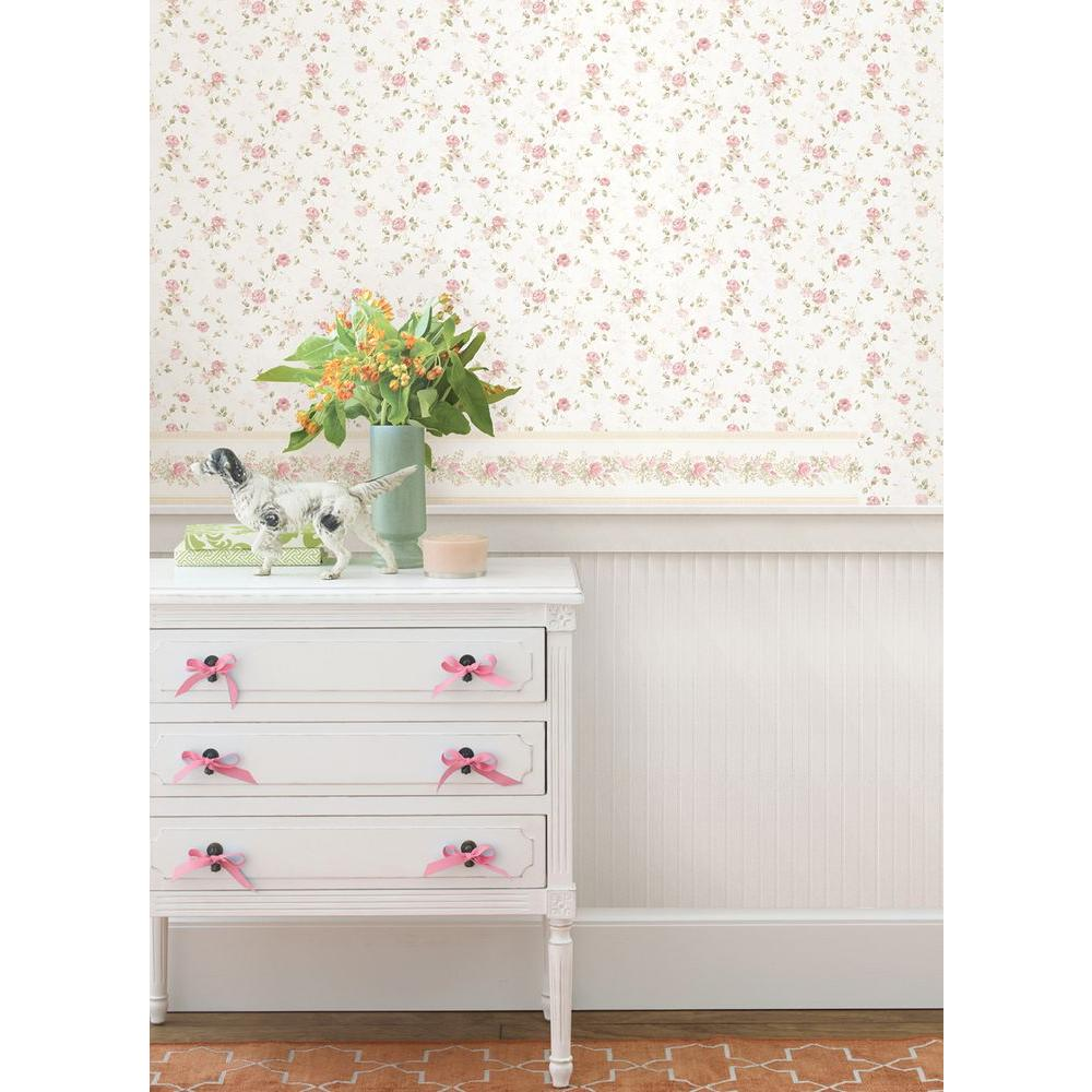Mirage 56 sq. ft. Alex Pink Delicate Satin Floral Trail Wallpaper-992-68348
