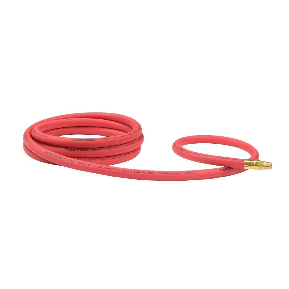 TEKTON 10 ft. x 3/8 in. I.D. Rubber Lead-In Air Hose
