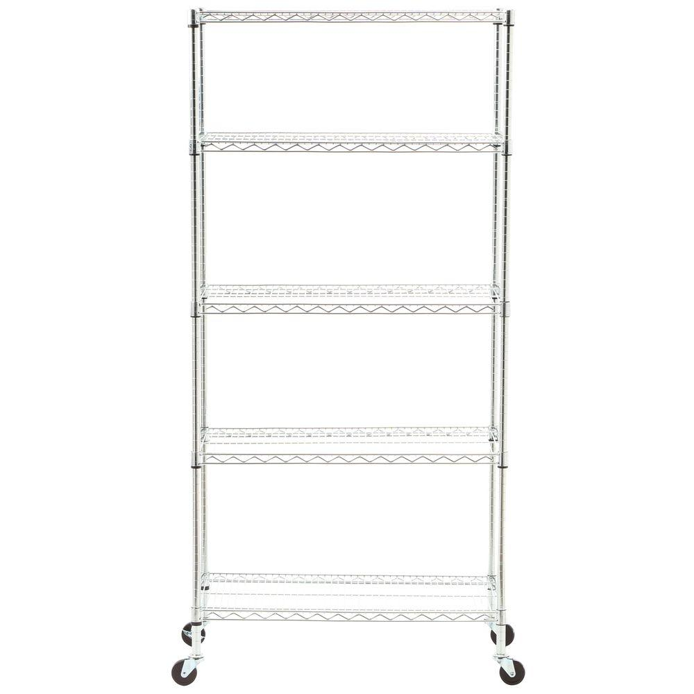 Seville Classics 5-Tier 18 in. x 36 in. Commercial Wire Shelving System with Wheels