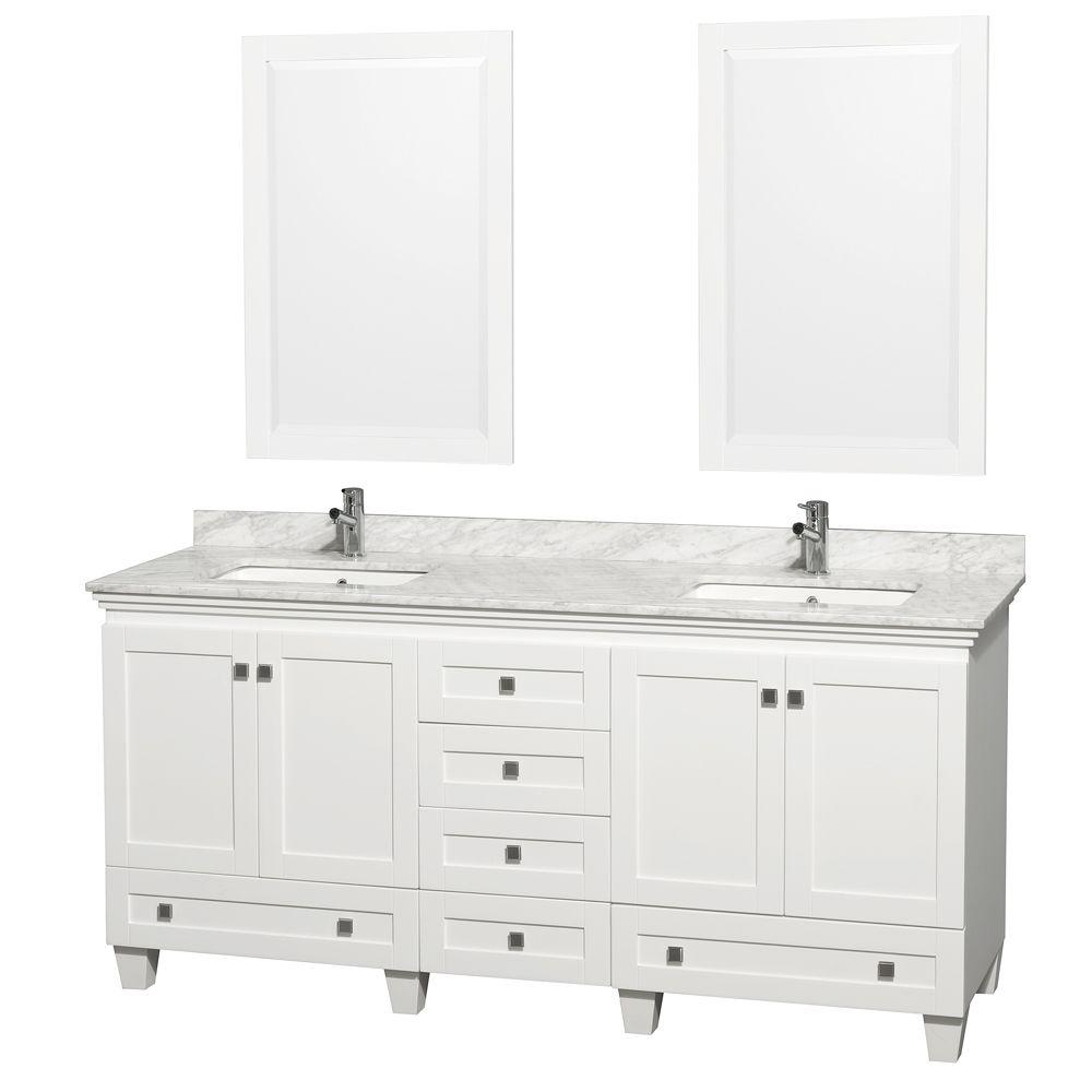 Acclaim 72 in. Double Vanity in White with Marble Vanity Top