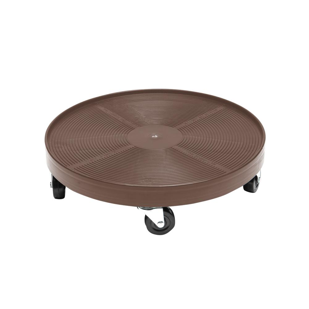 16 in. Espresso Round HDPE Plant Dolly without Hole-DEV3000ENH - The