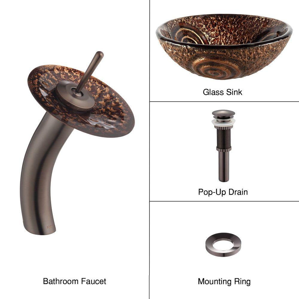 KRAUS Luna Glass Vessel Sink in Brown with Single Hole Single-Handle Low-Arc Waterfall Faucet in Oil Rubbed Bronze