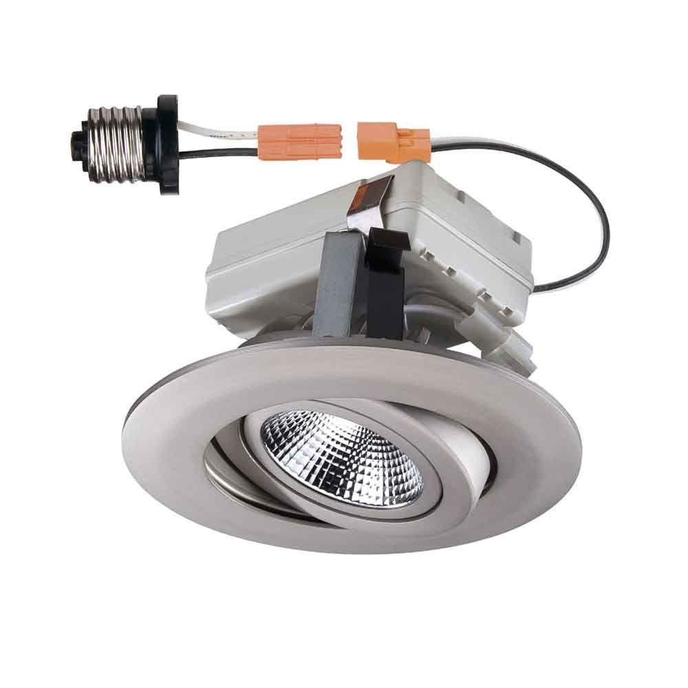 Commercial Electric 4 in. Brushed Nickel LED Recessed Gimbal Trim