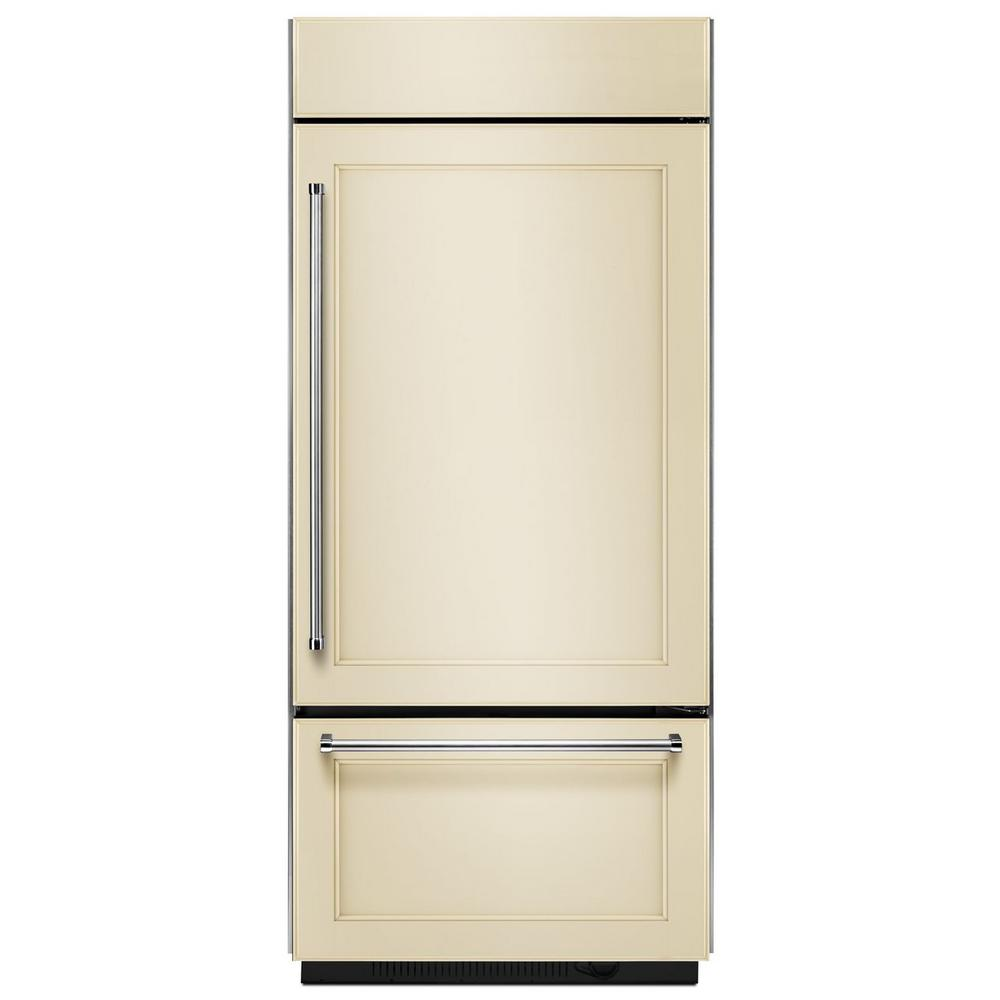 KitchenAid 36 in. W 20.9 cu. ft. Built-In Bottom Freezer Refrigerator, Panel Ready with Platinum Interior